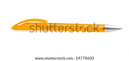 orange pen on white ground - stock photo