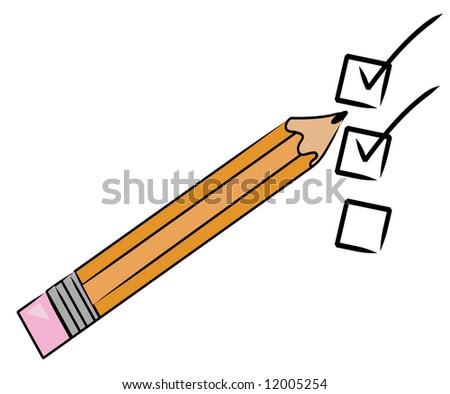 orange pencil checking off tasks on to do list - stock photo