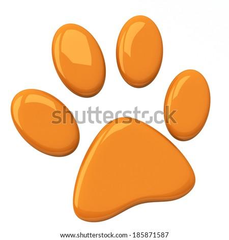 Orange pet paw, 3d  - stock photo