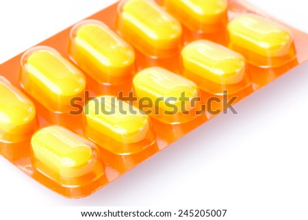 orange pills of medical - stock photo