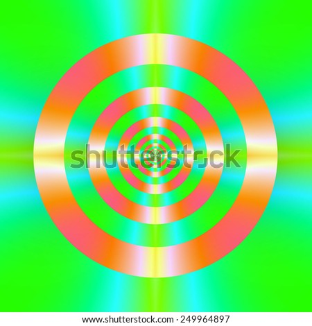 Orange Pink Green and Turquoise Rings / A digital abstract fractal image with a colorful target design in orange, pink, green and turquoise. - stock photo