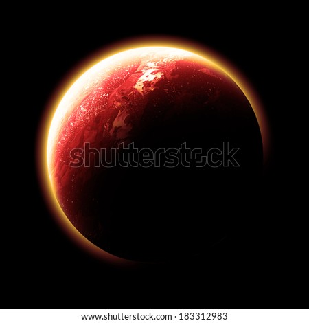 Orange Planet Isolated - Elements of this image furnished by NASA  - stock photo