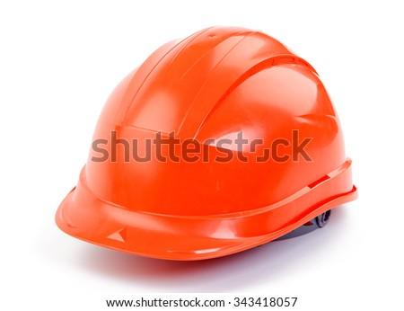 Orange plastic construction Helmet on a white background - stock photo