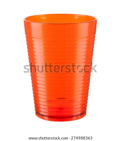 Orange plastic cup isolated on a white background - stock photo