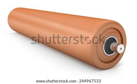 Orange plastic for drum conveyor isolated on white background - stock photo