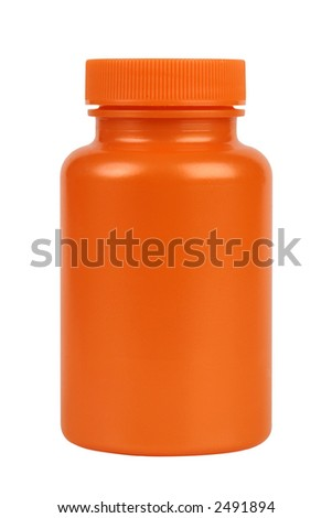 Orange plastic jar. Isolated on white. Clipping path included. - stock photo