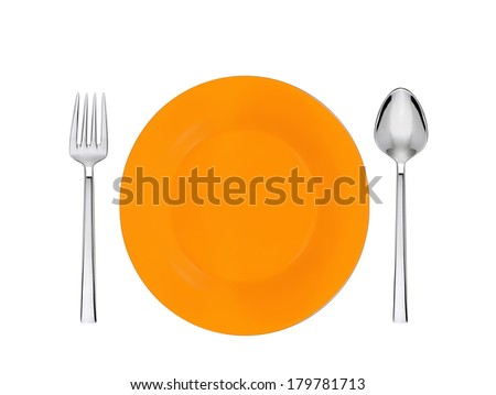orange plate, spoon and fork isolated on white - stock photo