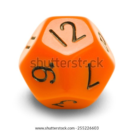 Orange Polyhedral Roll Player Dice Isolated on a White Background. - stock photo