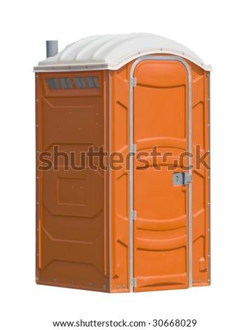orange portable public toilet, isolated - stock photo