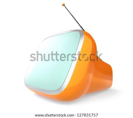 orange portable stylish retro TV - stock photo