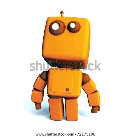 Orange proud 3D robot isolated on white background - stock photo