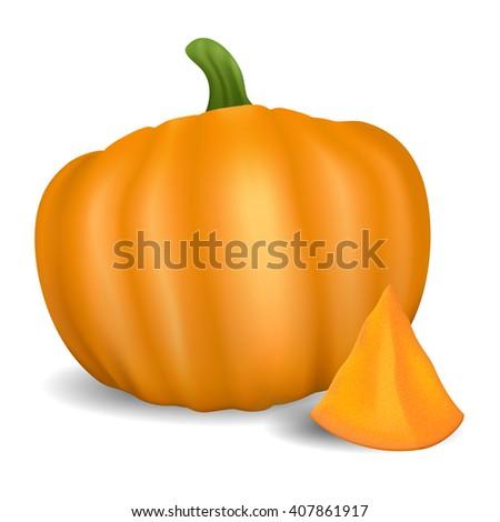 Orange pumpkin. Healthy organic food. Realistic illustration - stock photo
