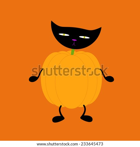 Orange pumpkin on two black legs and two black legs with black cat head on green neck isolated on bright orange background. Halloween decoration element - stock photo