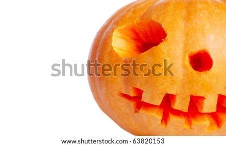 Orange pumpkin on white - stock photo