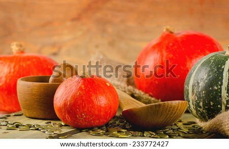Orange  Pumpkins  on  wooden background. Selective focus - stock photo