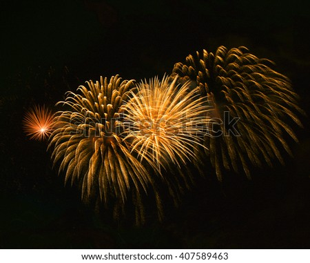 Orange red fireworks background, fireworks festival, Independence day, Bastilian day, June 4, freedom - stock photo
