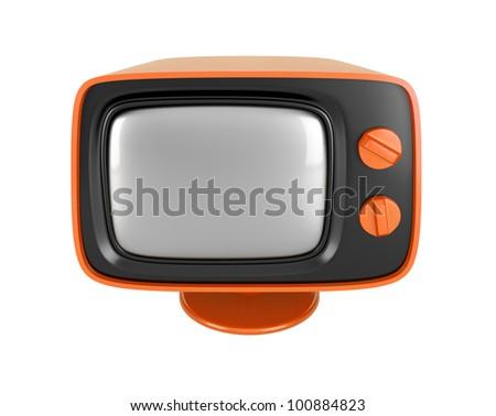 Orange retro TV - stock photo