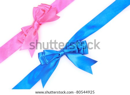 Orange  ribbon and bow isolated on white background - stock photo