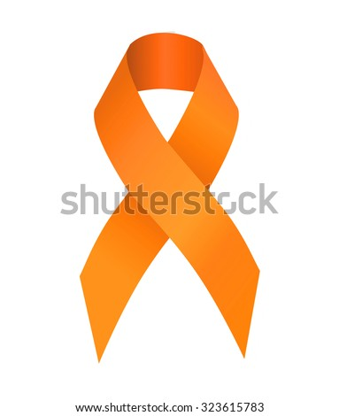 Orange ribbon symbolizing the problems christians killing, cruelty to animals, leukemia, multiple sclerosis, kidney cancer, attention deficit hyperactivity disorder, pain syndrome awareness - stock photo