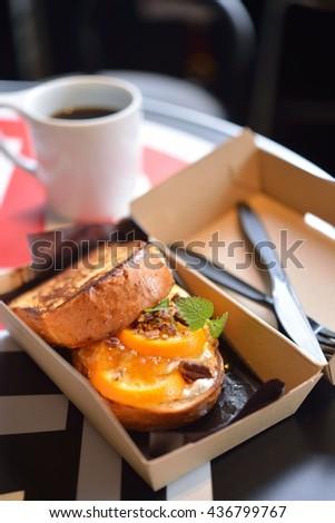 orange ricotta sandwich - stock photo