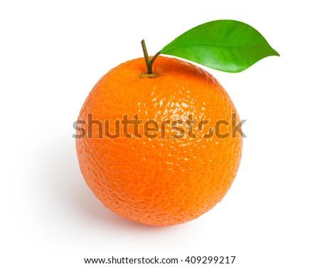 Orange. Ripe orange with a leaf isolated on white background - stock photo