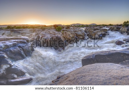ORANGE RIVER AT AUGRABIES FALLS, AUGRABIES NATIONAL PARK, NORTHERN CAPE, SOUTH AFRICA , - stock photo