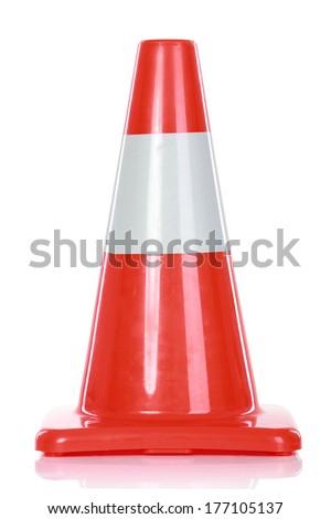 Orange Road Hazard cone, isolated over white background - stock photo