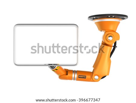 Orange robotic  ceiling  arm holding blank monitor for copy space.  3D rendering image with clipping path. - stock photo