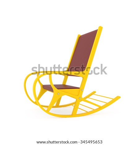 Orange Rocking Chair isolated on white - 3d illustration - stock photo