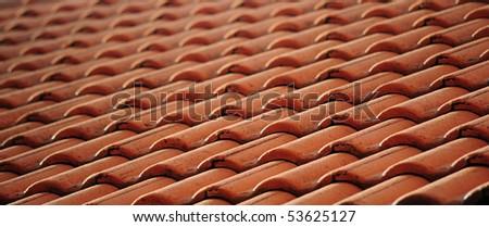 Orange Roof Tile Pattern - stock photo