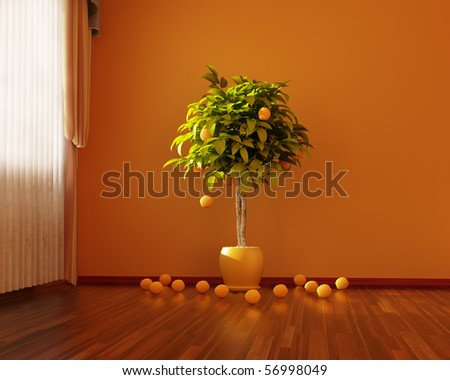 Orange room - stock photo
