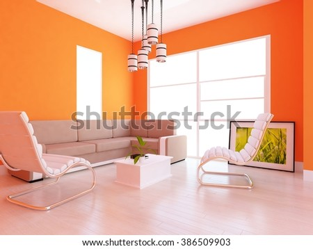 orange room with furniture. 3d concept - stock photo