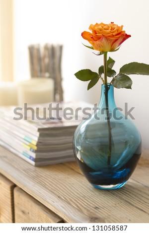 orange rose in blue vase contemporary interior blur background - stock photo
