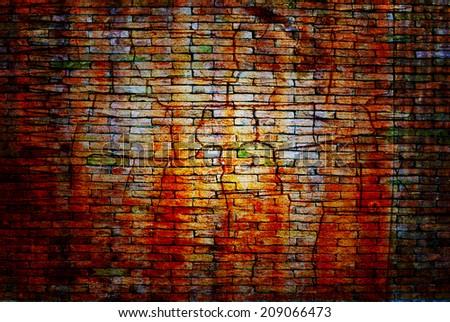 Orange rough brick grunge wall - stock photo