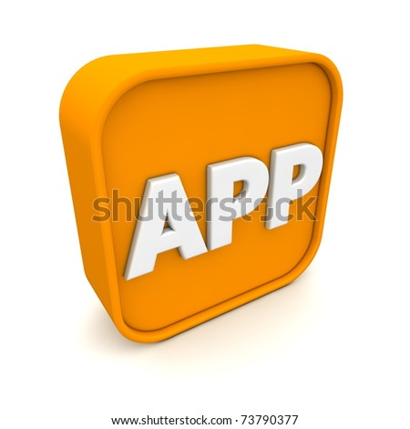 orange RSS like APP symbol rendered in 3D isolated on white ground - angular view - stock photo