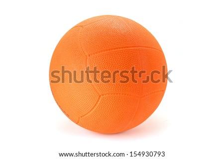 Orange Rubber Ball Isolated on White Background.  - stock photo