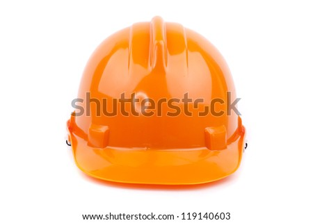 orange safety hard hat - stock photo