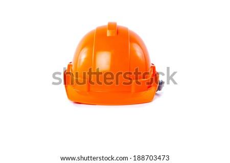 Orange Safety Helmet Hat isolated on white background. - stock photo