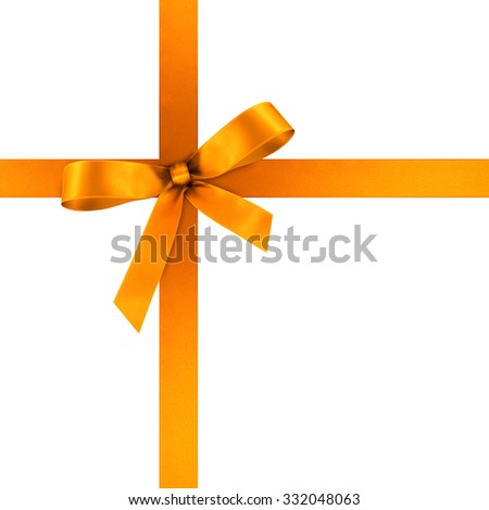 Orange Satin Gift Ribbon with Decorative Bow - Ornate Textile Decor - Isolated on White Background - For Christmas and Easter Season - Valentine and Mothers Day - stock photo