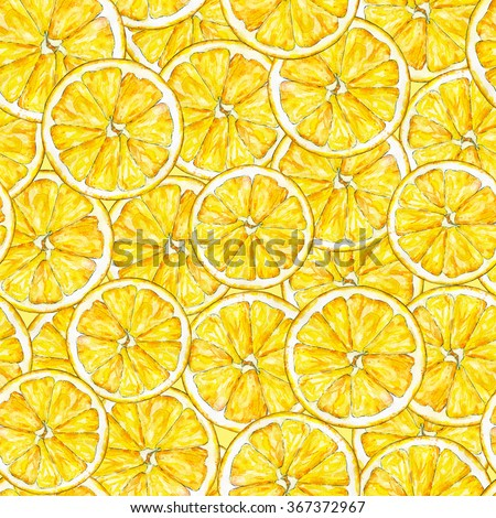 Orange segments. Watercolor drawing. Handwork. Tropical fruit. Healthy food. Seamless pattern for design. - stock photo
