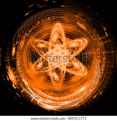 orange Shining atom scheme. illustration. dark background. digital. infographics. Abstract Technology background for computer graphic website internet and business. circuit. - stock photo