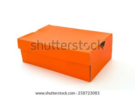 Orange shoe box isolated on white background - stock photo
