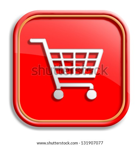 Orange shopping cart button isolated on white background - stock photo