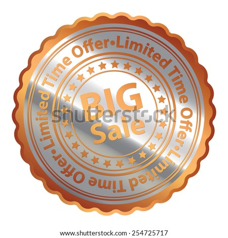 Orange Silver Metallic Big Sale Limited Time Offer Icon, Button, Label, Sign or Sticker Isolated on White Background  - stock photo