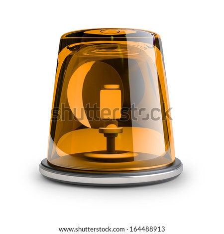 orange siren isolated on white background High resolution 3d  - stock photo