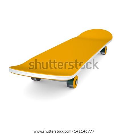 Orange skateboard. Isolated render on a white background - stock photo