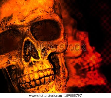 Orange Skull Scary Background - stock photo