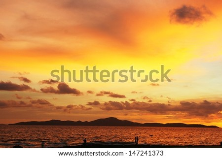 orange sky when sunset in the horizon - stock photo