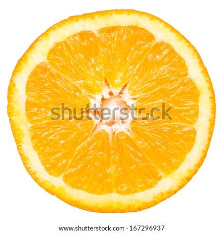 Orange Slice Closeup Details Isolated On White Background - stock photo