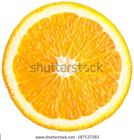 Orange slice (half) on a white background. - stock photo